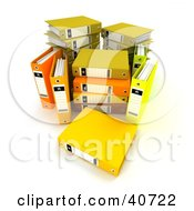 Clipart Illustration Of An Unorganized Group Of Yellow Binders With Blank Labels
