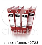 Clipart Illustration Of Four Red Binders With Blank Labels by Frank Boston