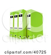 Clipart Illustration Of Four Green Binders With Blank Labels by Frank Boston
