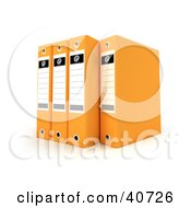 Clipart Illustration Of Four Orange Binders With Blank Labels