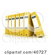 Clipart Illustration Of A Row Of 3d Yellow Binders With Blank Labels by Frank Boston