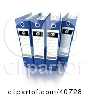 Clipart Illustration Of Four Blue Binders With Blank Labels by Frank Boston