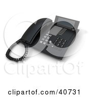 Clipart Illustration Of A Black 3d Office Landline Desk Phone With A Caller ID Display