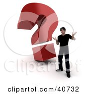 Clipart Illustration Of A 3d Customer Standing In Front Of A Red Question Mark