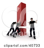 Clipart Illustration Of 3d Workers Pushing A Giant Red Exclamation Point Behind A Customer