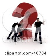 Clipart Illustration Of 3d Workers Pushing A Giant Question Mark Behind A Customer
