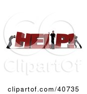 Clipart Illustration Of 3d Workers Building The Word Help While A Boss Directs