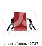 Clipart Illustration Of Two Opposing 3d Men Pushing At Opposite Sides Of A Red Block