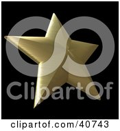 Clipart Illustration Of A 3d Brushed Golden Nautical Star