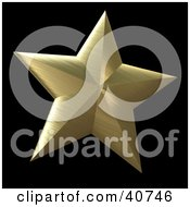 Clipart Illustration Of A 3d Brushed Gold Nautical Star