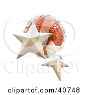 Clipart Illustration Of Three 3d White Stars Around A Red Ice Planet
