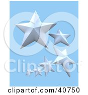 Clipart Illustration Of A Trail Of 3d White Nautical Stars