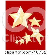 Clipart Illustration Of A Trail Of 3d Yellow Nautical Stars