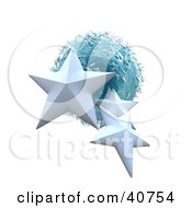 Clipart Illustration Of Three 3d White Stars Around A Blue Ice Planet by Frank Boston