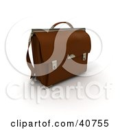 Clipart Illustration Of A Lawyers 3d Brown Leather Briefcase