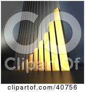 Clipart Illustration Of A Golden 3d Bar Graph Climbing Upwards Symbolizing Goals And Success