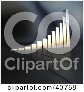 Clipart Illustration Of A 3d Chrome Bar Graph Climbing Upwards