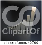 Clipart Illustration Of A Chrome 3d Climbing Bar Graph Symbolizing Success