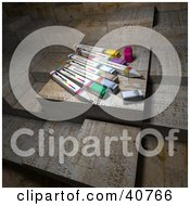 Clipart Illustration Of Colorful 3d Office Markers Resting On Abstract Grungy Blocks
