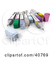 Clipart Illustration Of 3d Colorful Office Markers