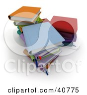 Clipart Illustration Of Three Stacks Of Colorful 3d School Books