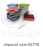 Clipart Illustration Of A Pen On Blank Note Paper By Stacks Of Colorful School Books