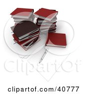 Clipart Illustration Of A Pen And Piece Of Paper By Stacks Of Red School Books