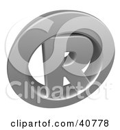 Clipart Illustration Of A Chrome Registered Trademark Icon With An R In The Center