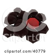 Clipart Illustration Of A Group Of One Red Umbrella Standing Out From A Crowd Of Huddled Black Umbrellas