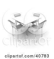 Clipart Illustration Of A White 3d Dining Table With Four Matching Chairs by Frank Boston