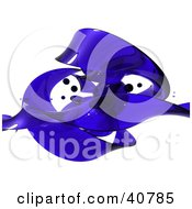 Clipart Illustration Of Transparent Blue Plastic Of Glass Twisting And Waving Over White