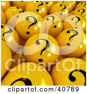 Clipart Illustration Of A Background Of Yellow 3d Question Mark Balls