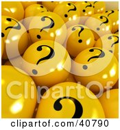 Clipart Illustration Of A Background Of Yellow 3d Balls With Question Marks On Them