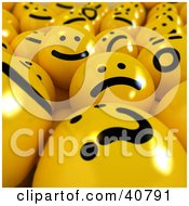Clipart Illustration Of A Background Of 3d Confused Happy And Sad Yellow Balls by Frank Boston