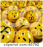 Clipart Illustration Of A Background Of 3d Sick Confused And Moody Yellow Balls by Frank Boston