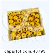 Clipart Illustration Of A 3d Box Full Of Moody Yellow Balls by Frank Boston