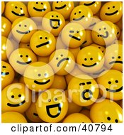 Clipart Illustration Of A Background Of Grumpy And Happy 3d Yellow Balls by Frank Boston