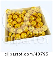 Clipart Illustration Of A 3d Box Full Of Happy Goofy And Sad Yellow Balls by Frank Boston