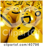Clipart Illustration Of A Background Of Happy Sad And Laughing Yellow 3d Balls by Frank Boston