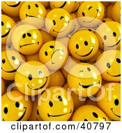 Clipart Illustration Of A Background Of 3d Flirty Sad And Happy Yellow Balls by Frank Boston