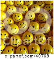 Clipart Illustration Of A Background Of Joyful 3d Yellow Balls by Frank Boston
