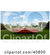 Clipart Illustration Of 3d Windows Around A Red Conference Table In A Green Meadow by Frank Boston #COLLC40800-0095