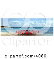 Clipart Illustration Of A Red 3d Conference Table On A Beach