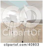 Clipart Illustration Of A 3d Conference Room Full Of Empty White Chairs