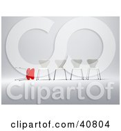 Clipart Illustration Of A Rejected Red 3d Chair Lying Beside A Row Of White Standing Chairs by Frank Boston