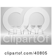 Clipart Illustration Of Five 3d White Chairs Lined Up In A Row
