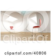 3d Room Interior With A Dividing Line Between Two Red Chairs Facing Each Other
