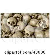 Clipart Illustration Of A Background Of Human Skull Remains With Teeth
