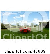 Clipart Illustration Of A 3d Red Conference Table In A Green Meadow Surrounded By Windows by Frank Boston