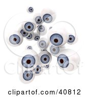 Clipart Illustration Of A Group Of 3d Floating Blue Eyeballs